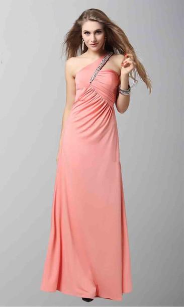 Sequins One Shoulder Dresses Pink Dress Criss Cross Long Prom