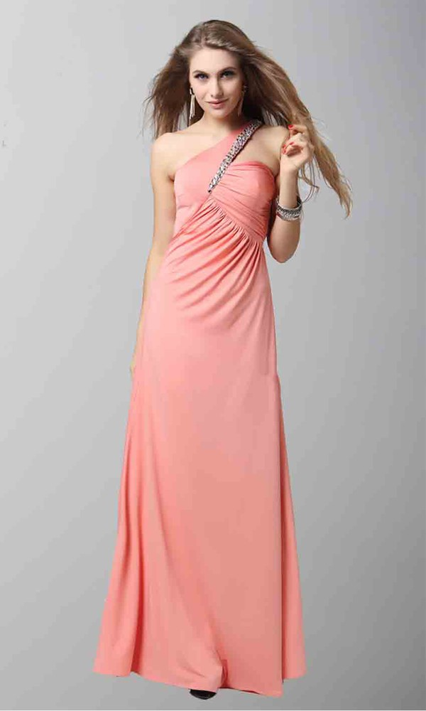 sequins one shoulder dresses pink dress criss cross long prom dress long formal dress empire waist dress
