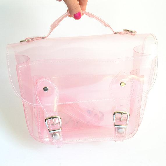 Bag number 3 clear pink plastic satchel shoulder strap (handmade to order)