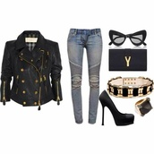 jacket,jeans,shoes,belt,bag,sunglasses