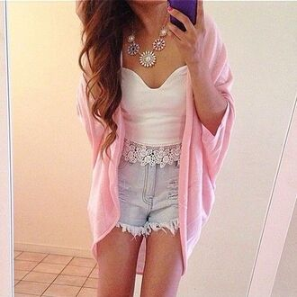 sweater pink hippie sweet baby clothing baby pink cute trend trending short shorts blue white jewels top shirt pattern comfy comfysweater t-shirt tank top lace crop tops cardigan mid-length high waisted shorts blouse summer outfits cover ups