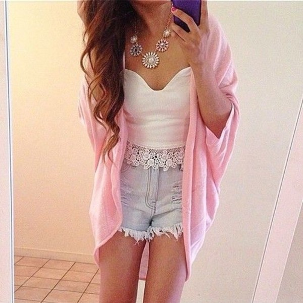 sweater pink hippie sweet baby pink cute trendy trendy short shorts blue white jewelry top shirt pattern comfy comfysweater t-shirt tank top lace tank top crop tops cardigan mid-length High waisted shorts summer outfits crop tops