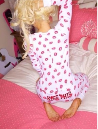 pajamas onesie kisses onesie playboy victoria's secret swimwear