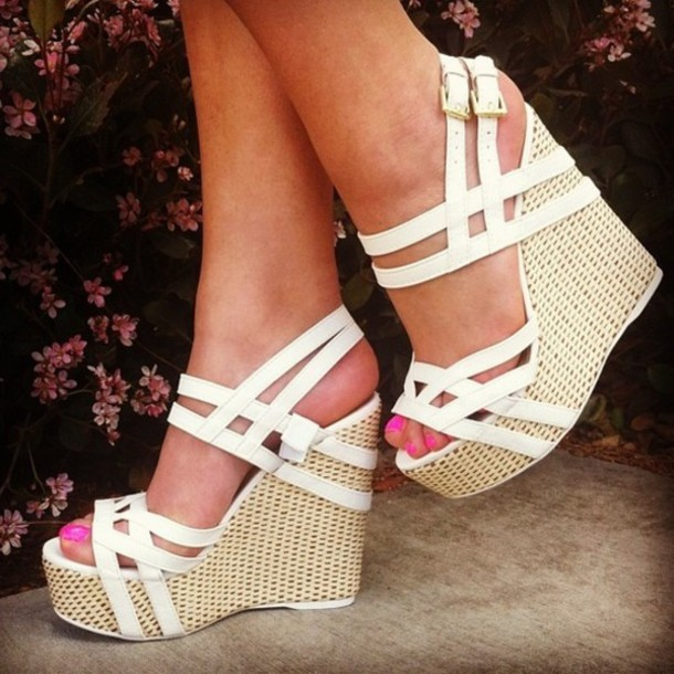 shoes wedges white white wedges nude wedges wages strappy sandal heels cute
