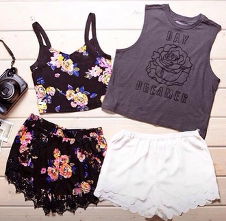 shorts shirt tank top neon lace up flowered shorts floral tank top crop tops black vlack black bikini black leather skirt pretty little liars lace dress top dress two-piece floral dress