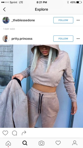 jumpsuit joggers suede suede pants suede sweatsuit beige crop sweatsuit crop tops crop set hoodie cropped hoodie sweatsuit set suede jacket beige jacket 2 piece crop set