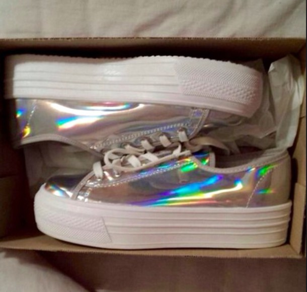shoes, holographic shoes, iridescent, trainers, holographic, platform shoes  - Wheretoget