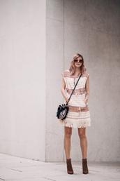 bekleidet,blogger,sunglasses,dress,bag,cardigan,blush pink,pink dress,fringes,brown boots,black bag,mini bag,spring outfits,summer outfits