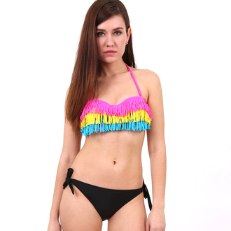 swimwear bikini tassel halter bikini bandeau bikini fluorescent swimsuits bandeau swimsuit summer beach wear swimwear