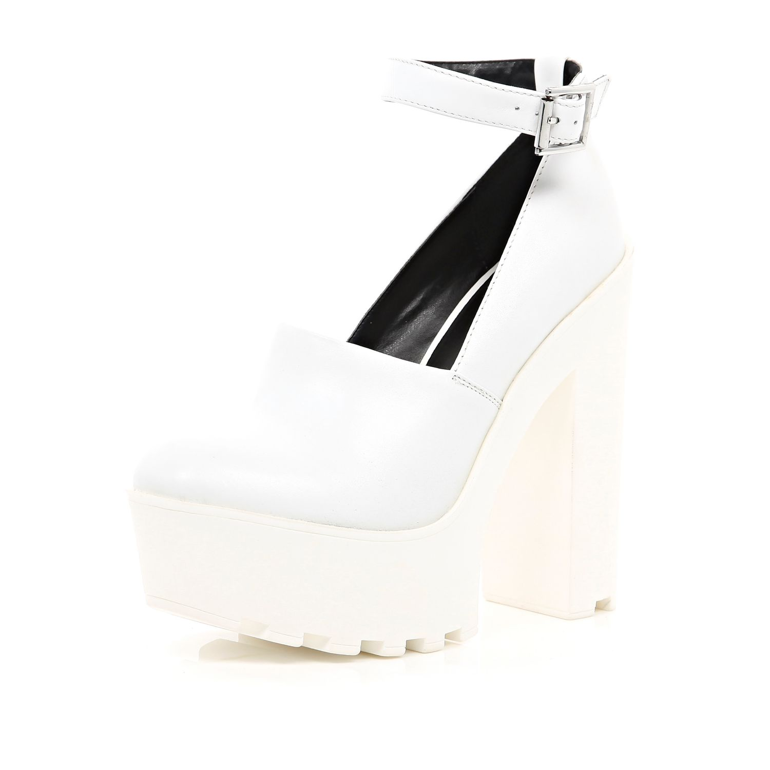 White chunky cleated sole platforms