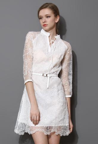 dress white string nexk embroidered organza