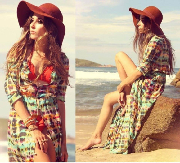 tie dye blouse maxi cardigan beach cover up