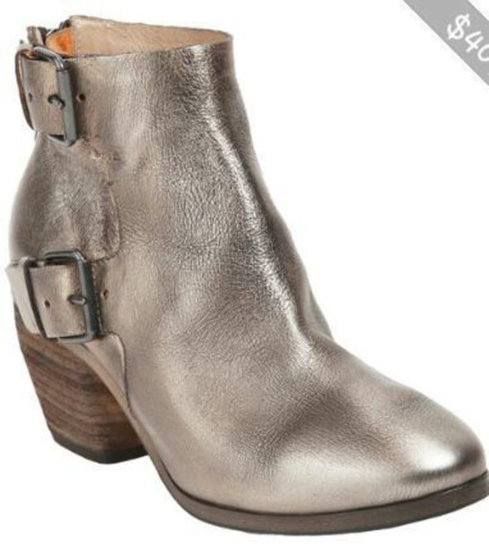 shoes metallic ankle boots buckle boots metallic shoes
