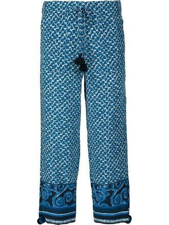 cropped women blue silk pants