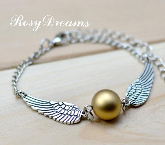 Harry potter golden snitch bracelet silver double by rosydreams