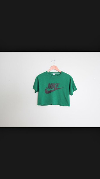 shirt nike crop top crop tops crop nike green top