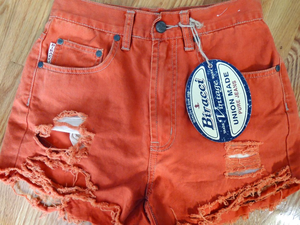 New Vintage Summer Shorts High Waisted Urban Studded Orange Shirt Distressed | eBay