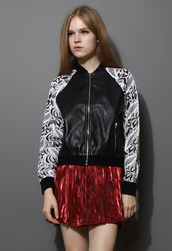 jacket,faux leather,bomber jacket,lace,black
