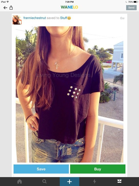 blouse scoop neck studs black crop top