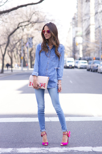 something navy blogger jeans shirt shoes sunglasses