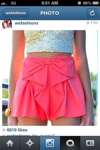 shorts bow shorts pink shorts high waisted shorts bows