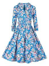 dress,vintage fahsion,fashion,long sleeves vintage dresses,floral dress
