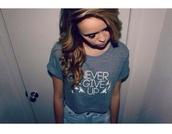 shirt,never give up,acacia brinley,curled hair,tumbl