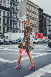 not jess fashion,blogger,dress,bag,shoes,sunglasses,high heel sandals,leopard dresses,pink bag,leopard dress,fall outfits