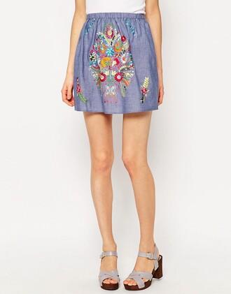 skirt chambray embroidered mini skirt