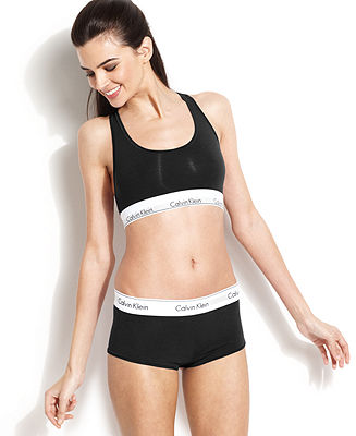 Calvin Klein Modern Cotton Bralette and Boyshort - Lingerie - Women - Macy's