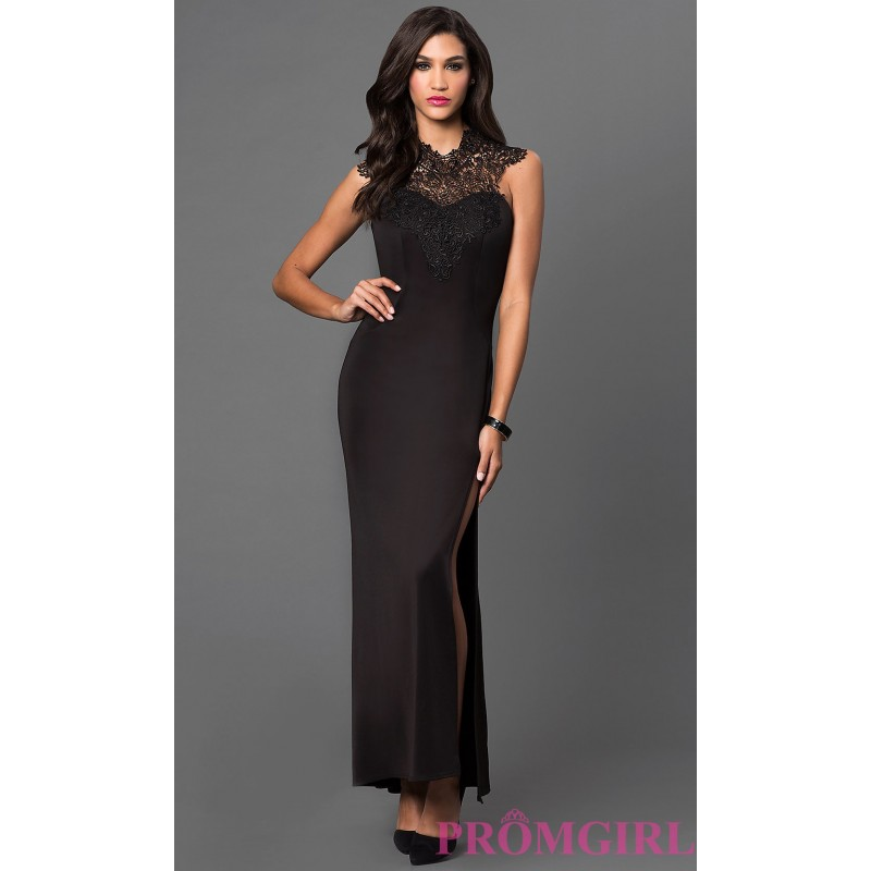 Dress black lace neckline