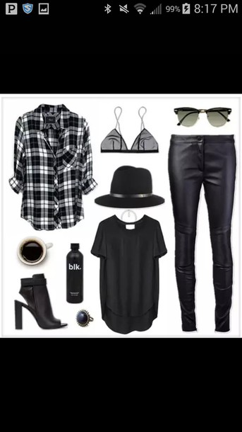 pants plaid shirt hat bralette shirt sunglasses make-up