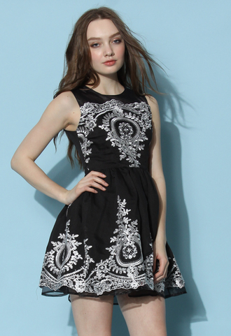 dress chicwish chicwish.com black dress baroque embroidered dress