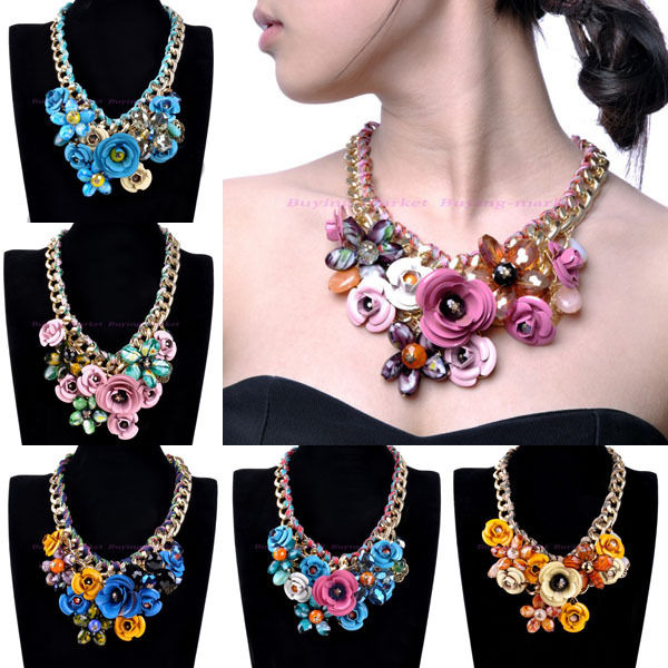 Hot Fashion Gold Chain Rhinestone Crystal Rose Flower Bib Statement Necklace | eBay