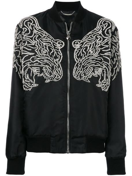 Philipp Plein - embellished tiger bomber jacket - women - Nylon/Cotton/Spandex/Elastane/Polyester - M, Black, Nylon/Cotton/Spandex/Elastane/Polyester
