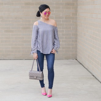 morepiecesofme blogger sunglasses jewels top bag shoes chanel bag pink heels pumps high heel pumps skinny jeans striped top