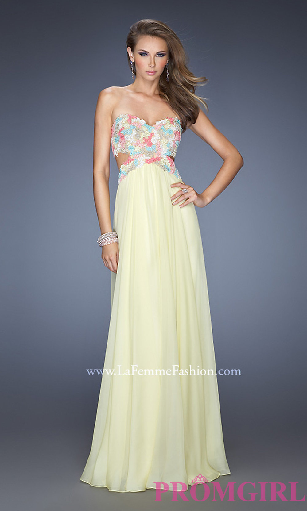 Long strapless sweetheart open back dress
