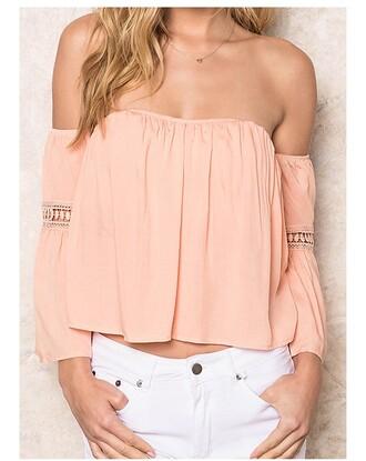 blouse black off the shoulder light pink neutral festival long sleeves