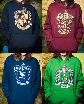 blouse blue red green black sweat harry potter hogwarts