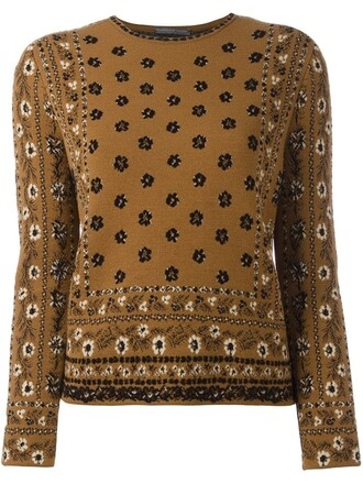 jumper women jacquard floral silk wool brown sweater