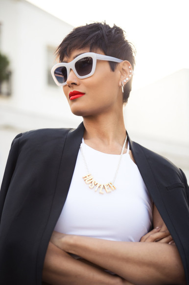 jewels ear cuff hustler necklace micah gianneli blogger sunglasses streetstyle
