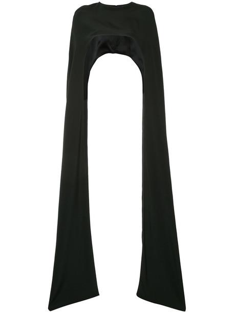 Christian Siriano cape women black silk top