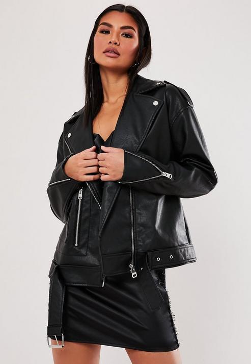 Petite Black Faux Leather Boyfriend Biker Jacket