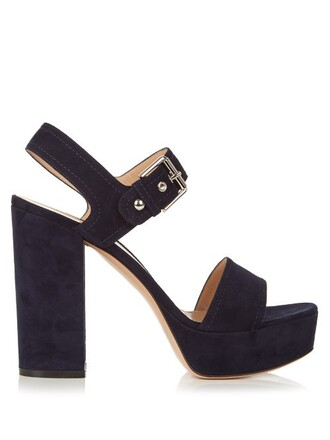 sandals suede navy shoes