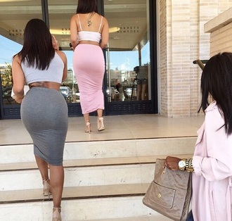 skirt light pink bodycon skirt grey skirt