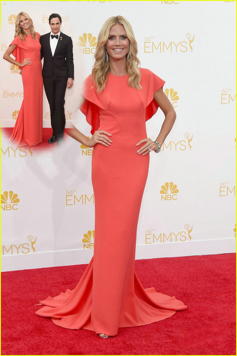 Aliexpress.com : Buy Vogue Orange Red Heidi Klum Emmy Dress New Fashion Cap sleeves Scoop Celebrity Dresses 2014 Free Shipping from Reliable cap sleeve flower girl dress suppliers on 27 Dress