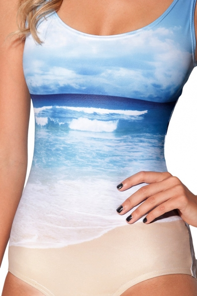 Special designed one piece swimsuit in sky