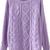 Purple Long Sleeve Diamond Patterned Knit Sweater - Sheinside.com