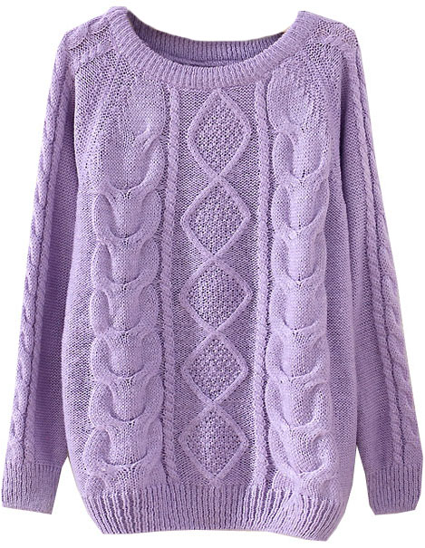 Purple Long Sleeve Diamond Patterned Knit Sweater - Sheinside.com