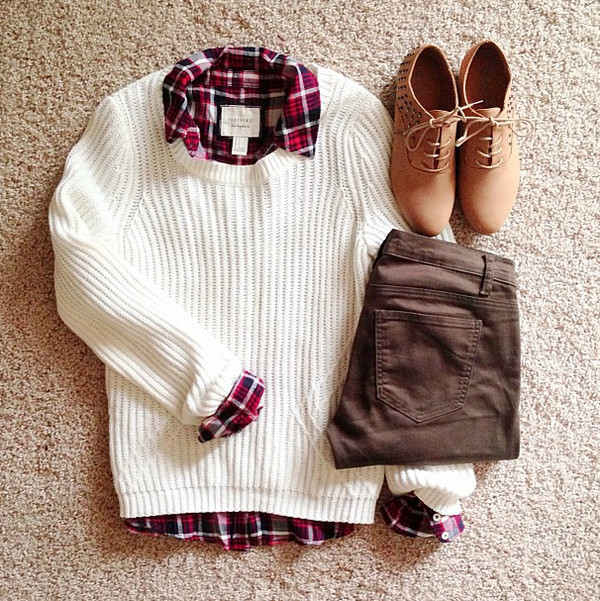 shoes soes pullover sweater shirt pants same back to school white pullover red blouse tumblr fashion tumblr outfit blogger top plaid blouse sweater weather atumn winter sweater cardigan shorts jeans white sweater fall outfits classic preppy fashion spring 2015 spring